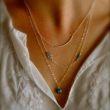 European and American trade jewelry simple multi layers Hamsa short turquoise with eye necklace