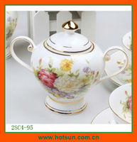 elegant bone china sugar container with flower pattern 2SC4-95
