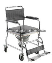 Chromed steel Commode wheelchair disabled chair