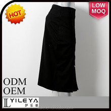 2015 latest model knit korean skirt, ladies office skirt suit with metal decoration