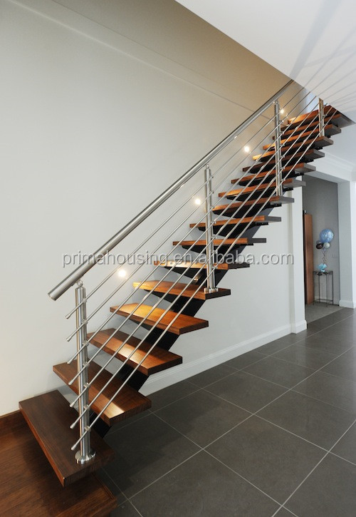 Modern Metal Straight Stair With Glass Railing Designs
