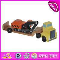 Mini excavator toy trailer for kids,tractor trailer toy trucks for children,wooden toy trailer truck toy for baby W04A081