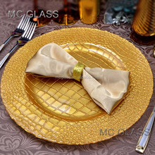 Wholesale Cheap Elegant Events Catering Square Design Gold Glass Wedding Charge Plate