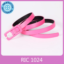Promotional Pink PU leather belt women low price from factory