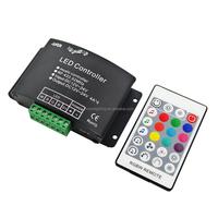 DC12~24V 4A*4CH 16A 384W RF 24 Key Remote RGBW music led controller Audio Controller PWM led controller 4CH Warranty Ce,RoHS