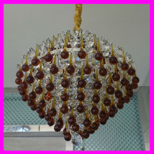 modern clear red k9 crystal water ball pendant lamp with chain chrome color can change crystal