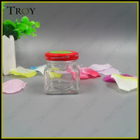 50ml Square Glass Jar for Jam with Red Tin Plate Lid