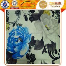 Blue white flower burn out upholstery velvet fabric in keqiao