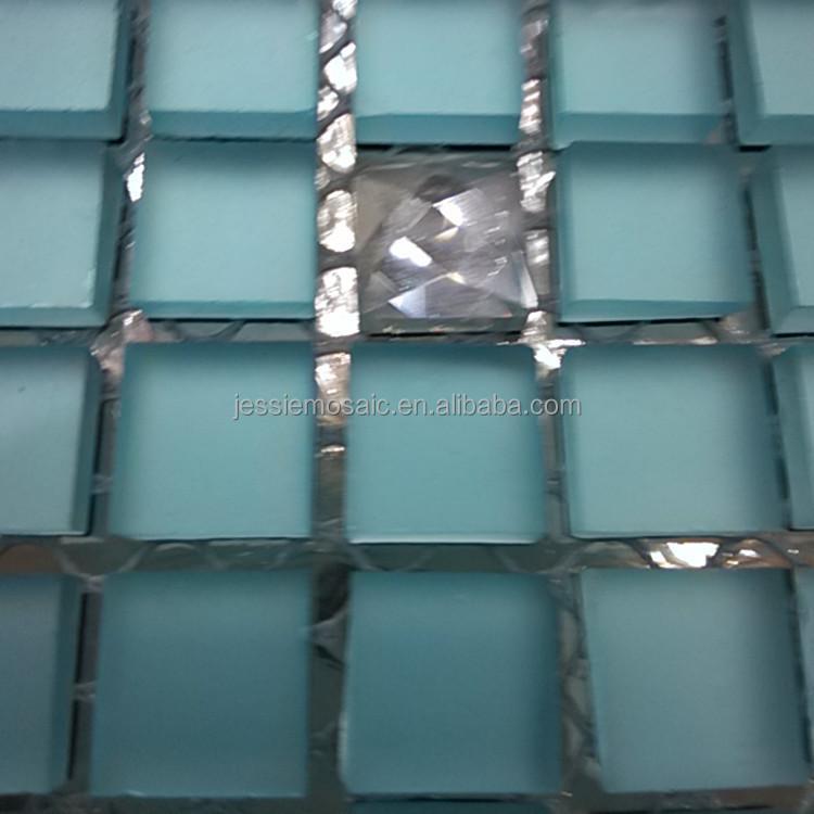 JS 파란색 유리 타일 모자이크 믹스 다이아몬드 모자이크 욕실 벽 ...