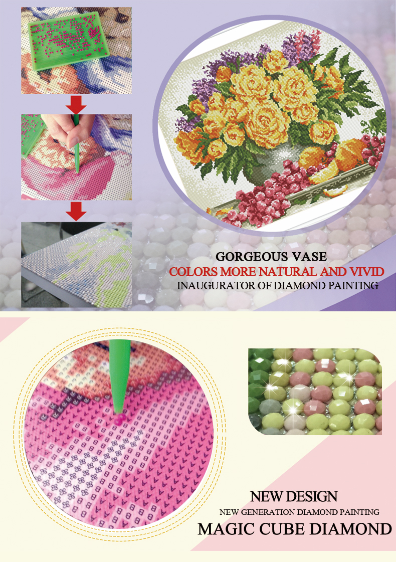 diy diamond painting by number with flower picture 2015 new hot photo yiwu factory GZ046