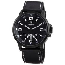 SKONE 9345 Black Leather Bracelet White Number Word Watch Vintage Men