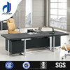 F-35 L-shaped luxury office table with stainless steel legs, high gloss office desk black