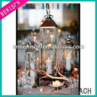 Polished stainless steel hurricane outdoor candle lantern