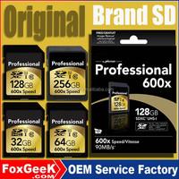 Wholesale Original 600x 32GB 64GB 128GB 256 Full Capacity SDXC SD Card CCTV Camera Micro Flash Memory SD Card for Play 4K Video
