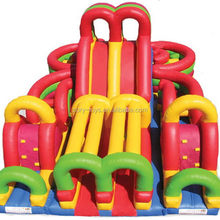 Economic hot sell inflatable fire truck obstacle course