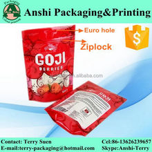 Tear notch/hanging hole ziplock plastic stand bag for beverage
