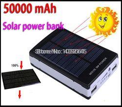 Hot sale 50000mAh Solar Power Bank Backup Battery Solar Charger 50000mAh for GPS MP3 PDA Mobile Phone free shipping