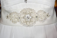 JM. Bridals P005 Beads Sequins Ivory / White Bridal / Wedding Belt / Sash with Beautiful Lace Trim