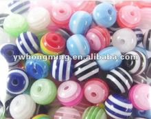Sales promotion!Discount price!!Mix color epoxy resin beads,loose stripe resin beads solid 16mm wholesale!