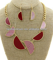 Short Urban Glam Metal Chain Shape Half Circle pendant Necklace & Earring Set