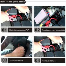 Emergency tools 12000mah car jump starter multiple cigarette lighter power bank