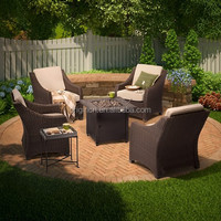 Summer barbeque rattan furniture 4 seats patio armchairs with tiled table gas fire pit