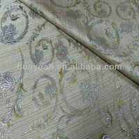 green shiny jacquard polyester curtain tissue fabric