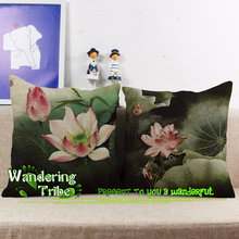 wholesale China Style Cotton pillow case Summer lotus leaf lotus ink house decorative