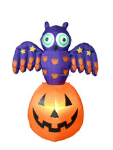 120cm/4ft halloween inflatable, electric LED light decoration pumpkin with owl on top air blown decoration
