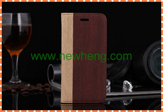 En bois motif PU étui en cuir pour iPhone 5 5S