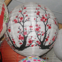 Chinese plum round fire retardant paper rechargeable lantern in paper crafts
