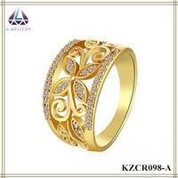 Beautiful Fashion Wide Butterfly Sahpe Fake Diamond Gold Ring