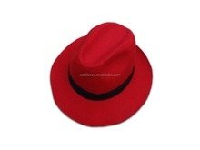 Vintage Women Wide Brim Ribbon Warm Wool Blend Felt Hat Bowler Trilby red fedora hat QHAT-2183