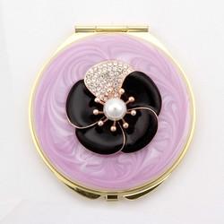 PRECIOUS PURPLE Flower Pearl Pocket /Purse Compact Mirror HQCM290989-2