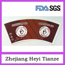 Customized Design Printed PE Paper Cup Fans / Disposable Paper Cup Fans Cutted Customized Size