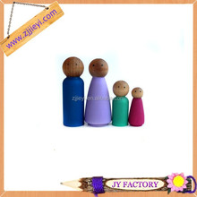 New design cheap gift items natural wood doll popular primary colors wooden peg dolls
