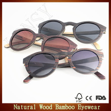 Handcraft round vintage wood veneer frame sunglasses wooden sun glasses with spring hinges LS2118