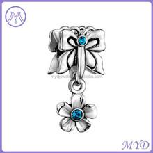Rhodium plating Butterfly Flower Dangle European Beads Fit All Brands