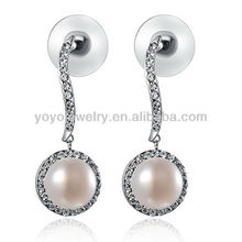 E825 Hot sale crystal latest design of pearl earring cz stud white gold filled earrings