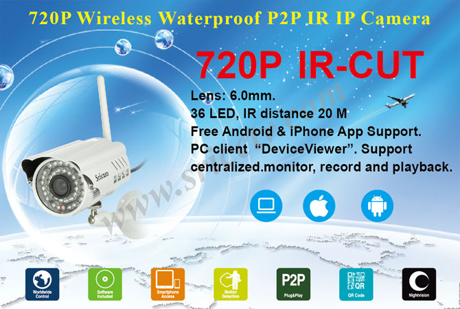 Two Year Warranty Sricam AP009 Hot Waterproof IR Night Vision P2P Outdoor IP Camera Wireless Wifi Outdoor IP Camera