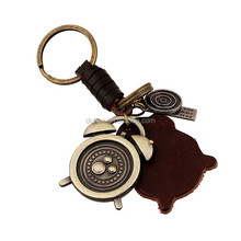 Alarm Clock shape Souvenir Leather Key Chain 2016