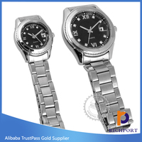Novelty Calendar Date Silver stianless steel back couple lover wrist watch
