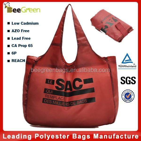 Velcro pouch design 190T nylon bag, nylon foldable shopping bag