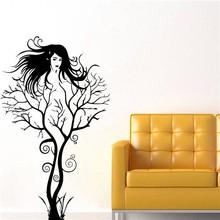 Colorcasa yeni ürünler vinil duvar sticker aile ağacı ve kadın dekoratif duvar sticker sanat duvar kağıdı oturma odası( zy8464)