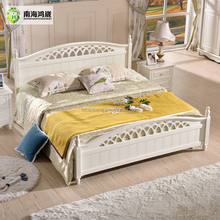 Modern China Foshan Malaysia MDF Wooden Bedroom Furniture Set Factory French Home Country Hotel Style Wood Box Double Queen Bed