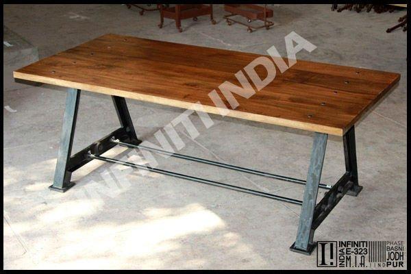 Antique square style vintage industrial metal dining table for Square industrial dining table