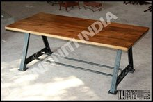 ANTIQUE SQUARE STYLE VINTAGE INDUSTRIAL METAL DINING TABLE,WOODEN TOP, FOLDING