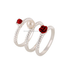 Fashion Women Wedding Ring Set,Ruby Ring with Pearl