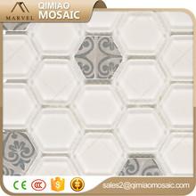 White And Grays Matt Sexangle Opus Romano Enamel Mosaic Tile Table Top