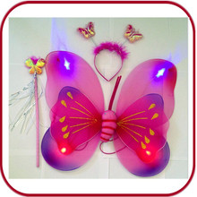 Hot sale colorful fairy double butterfly wings with headband Magic wand PGAC-0769